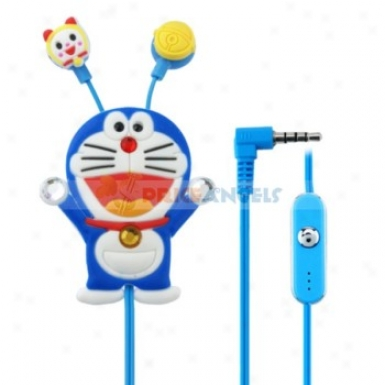Creative Cartoon Doraemon Style Crystal 3.5mm In-ear Earphone With Microphone/winder