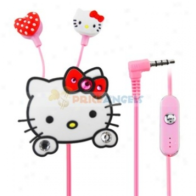 Creative Cartoon Kitty Head Style Crystal 3.5mm In-ear Earphone With Microphone/clip(white)