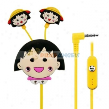Creative Cartoon Maruko Style Crystal 3.5mm In-ear Earpjone With Microphone/lip