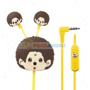 Creative Catroon Monchhichi Style Crystal 3.5mm In-ear Earphone With Microphone/winder