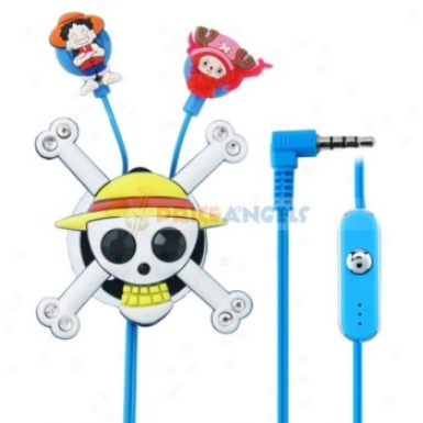 Creative Cartoon One Piece Style Crystal 3.5mm In-ear Earphone With Microphone/winder