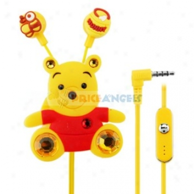 Creative Cartoon Pooh Style Crystal 3.5mm In-ear Earphone With Microphone/clip