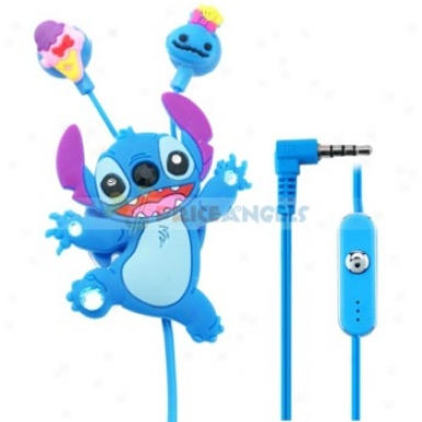 Creative Cartoon Stitch Style Crystal 3.5mm In-ear Earphone With Microphone/winder
