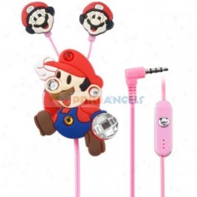 Creative Cartoon Super Mario Style Crystal 3.5mm In-ear Eaphone With Microphone/winder