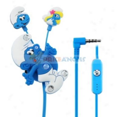 Creative Cartoon The Smurfs Style Crystal 3.5mm In-ear Earphone With Microphone/winder