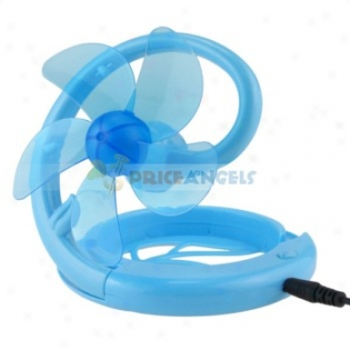 Cute 5-blade Mini Flexible Folding Usb Cooling Desktop Fan(blue)