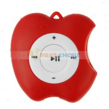 Cute Apple Shaped Screen-free Mp3 Media Player With Tf Card Slot(red)