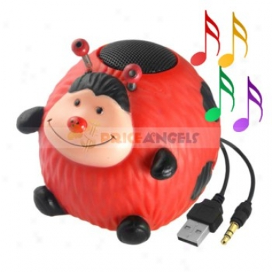 Cute Ladybug Shaped Multimedia Stereo Desktop Speaker For 3.5mm Jack Mp3 Cd Pc Notebook Computer Cell Phone