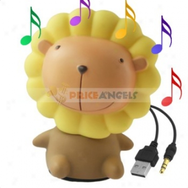 Cute Lion Shape 3.5mm Audio Decoration Jack Speaker Loudspeaker For Mp3 Cd Player Pc Notebook Computer Cell Phone