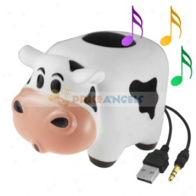 Cute Milk Cow Shape Discourser Louddpeaker Audio Adorning For 3.5mm Jack Mp3 Cd Player Pc Nooebook Computer Cell Phone