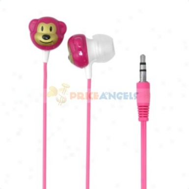 Cute Monkey Shaped 3.5mm Stereo Earphone Headphone(pink)