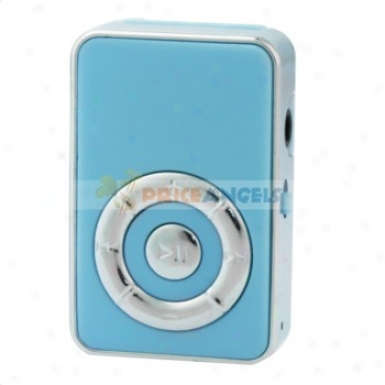 Cute Screen-free Clip Style Mp3 Media Idler With Tf Card Slot(blue)
