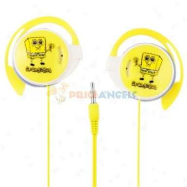 Cute Spongebob On-ear Hook Style Stereo Earphone Headset(yellow)