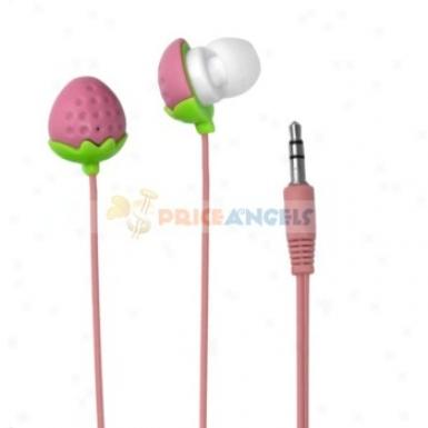 Cute Straqberry Shaped 3.5mm Stereo Earphone Headphone(pink)