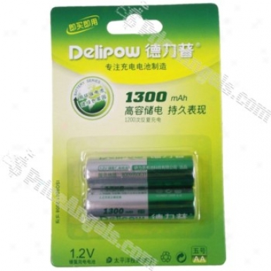 Delipow High Capacity Rechargeable 1.2v 1300mah Aa Ni-mh Batt3ries (2 Pieces Pack)