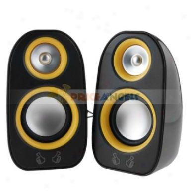 Digital 3.5mm Jack Mini Multimedia Desktop Stereo Speaker With Volume Control(yellow Decoration)
