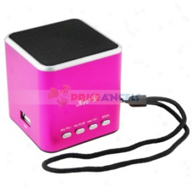 F-10u Sports Style Portable Usb Mini Speaker Wity Tf Card Slot/fm For Mp3/mp4 Player(fuchsia)