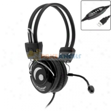 Feinier Adjustable Usb Sterso Headset Headphone Earphone With Microphone/volume Control For Computer(black)
