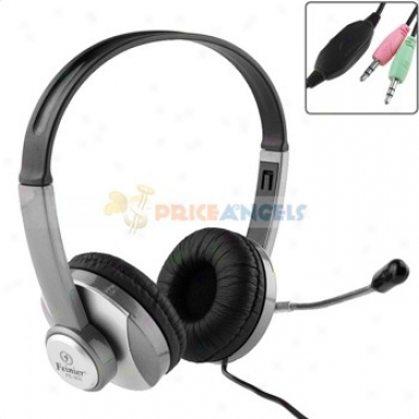 Feinier Fe-905 Professiohal Stereo Headphone Headset Earpiece Earphone With Microphone For Pc Compuuter Laptop(silver)