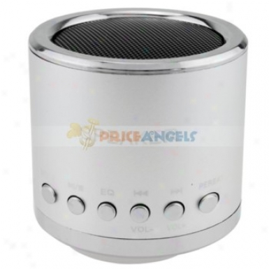 Feinier Mini Cylinder Usb Powered Multimedia Speaker With Micro Sd Slot For Pc Mp3 Mp4 Player(silver)