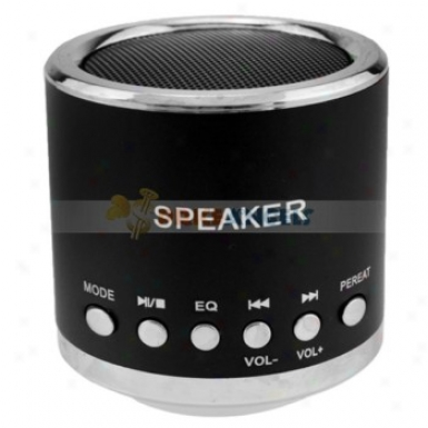 Feinier Mini Cylinder Usb Powered Multimedia Sppeaker With Mucro Sd Slot For Pc Mp3 Mp4 Player(black)