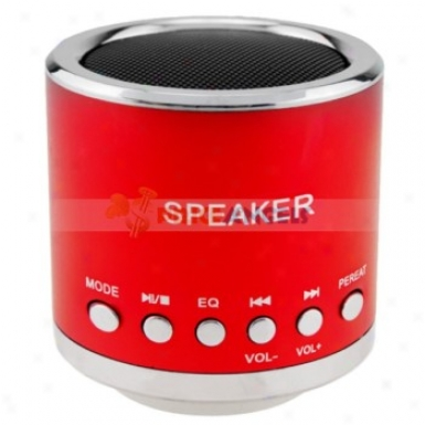 Feinier Mini Cylinder Usb Powered Multimedia Speaker With Micro Sd Slot For P Mp3 Mp4 Player(red)