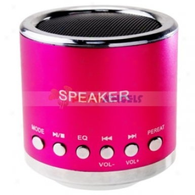 Feinier Mini Cylinder Usb Powered Multimedia Speaker With Micro Sd Slot For Pc M03 Mp4 Player(fuchsia)