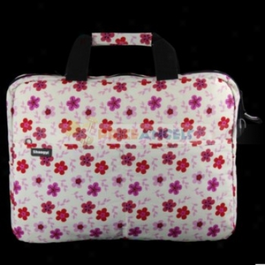 Flower Pattern Dual iZppered Handy Carrying Bag Case With Shoulder Strap For 15-inch Laptop