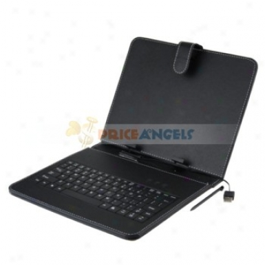 Full Protective Leather State Cover Upon Stand/keyboard For 9.7-inch Tabelt Pc(black)