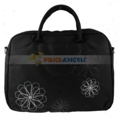 High-grade Carrying Bag Case With Blossom Patterns/shoulder Strap For 15-inch Laptop(black)