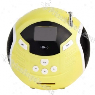 Hr-5 Cute Ball Style Rechargeable Mp3 Speaker With Fm/sd Slot-yellow