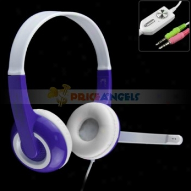 Koniycoi 3.5mm Jack Stereo Headset Headphone With Microphone/volume Control For Laptop Pc(purple)