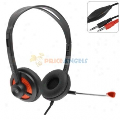 Koniycoi Kt-1300mv 3.5mm Jack Stereo Headset Headphone With Microphone/volume Control For Laptop Pc(orange)