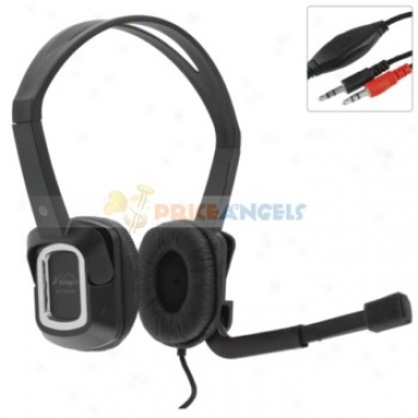 Koniycoi Kt-1500mv 3.5mm Jsck Stereo Headset Headpnone With Micropyone/volume Control For Laptop Pc(black)