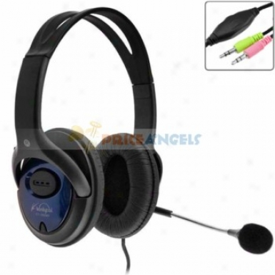 Koniycoi Kt-1900mv 3.5mm Jack Stereo Headset Headphone With Microphone/volume Controp For Laptop Pc(blue)