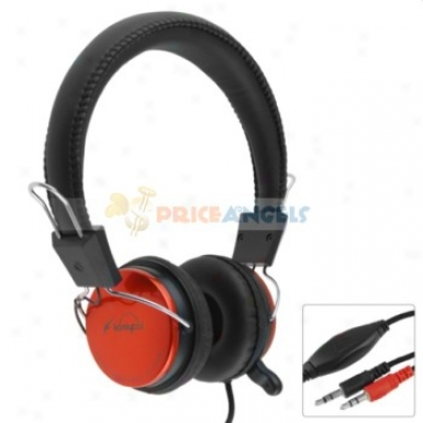 Koniycoi Kt-2000mv 3.5mm Jack Stereo Headset Headphone With Microphone/volume Control For Laptop Pc(oarnge)