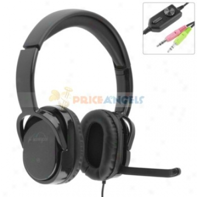 Koniycoi Kt-2300mv 3.5mm Jack Stereo Headset Headphone With Microphone/volume Control For Laptop Pc(black)