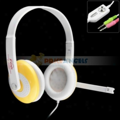 Koniycoi Kt-5300mv 3.5mm Jack Stereo Headset Headphone With Microphone/volume Control For Laptop Pc(yellow)