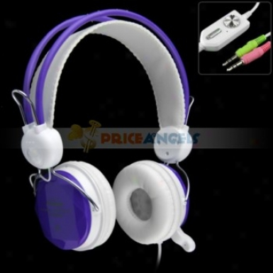 Koniycoi Kt-5800mv 3.5mm Jack Stereo Headset Headphone With Microphone/volume Control For Laptop Pc(purple)