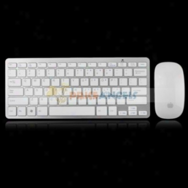 Ks-800 2.4ghz Usb 2.0 Ultra Thin Wireless Keyboard Touch Mouse Set With Receiver(white)