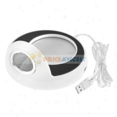 Led Desktop Mug Cup Warmer And Usb Hub With Clock
