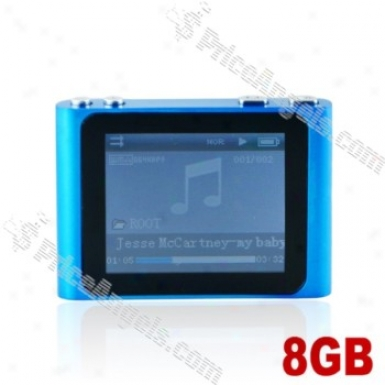 Lovley 1.8-inch Lcd Screen Multifunctional Mini Digital Mp3 Mp4 Sd Card Media Player With Clip-8gb(blue)