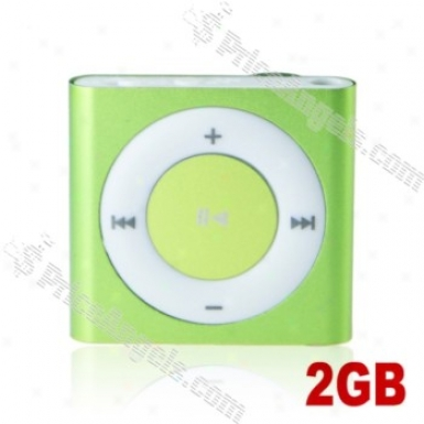 Lovley Square Shaped Screen-free Mini Dgiital Mp3 Player With Clip-2gb(green)