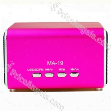 Ma19 Mini Box Style Rechargeable Mp3 Speajer With Fm/tf Slot-magenta