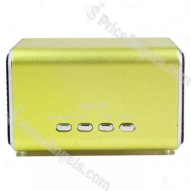 Ma19 Mini Box Style Rechargeable Mp3 Speaker With Fm/tf Slot-green