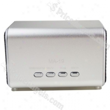 Ma19 Mini Box Style Rechargeable Mp3 Speaker With Fm/tf Slot-silver
