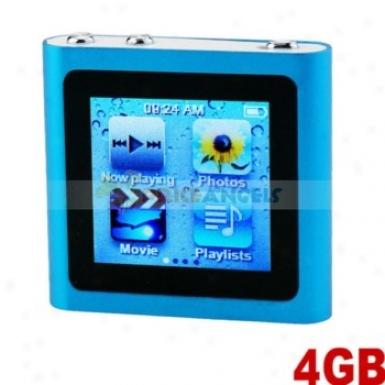 Mini 6th Generation 1.5-inch Hint Screen Usb 4gb Slim Clip Mp4 Player(blue)
