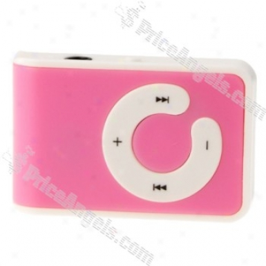 Mini Usb Slim Clip C Shape Button Mp3 P1ayer With Micro Tf Slot(pink)