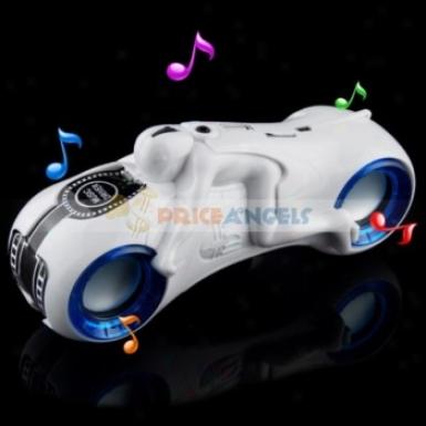 Moto Shaped Multi-functional Music Stereo Sound Bx Loud Speaker With Fm Radko/sd Card Slot/3.5mm Jack(white)