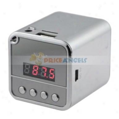 Nizhi Mini Speaker Amplifier W/ Fm Radio+tf Card Usb Slots+led Screen Because Pc Mp3 Mp4 Player(silver)